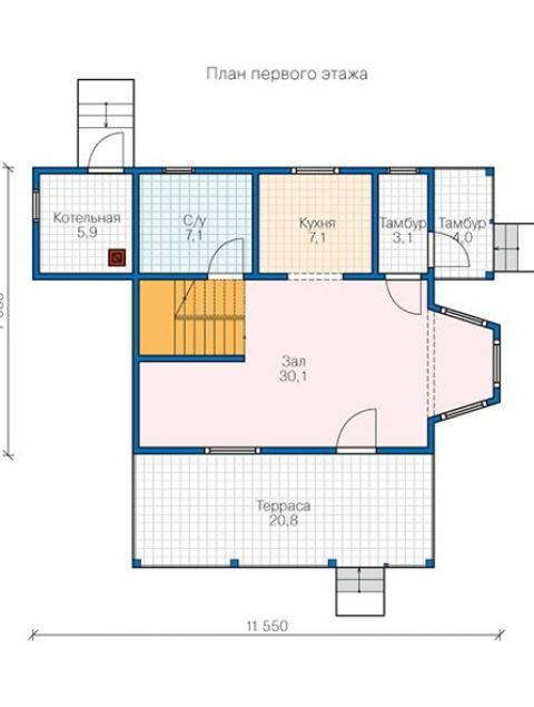 Дома из бруса серии БС 2-120