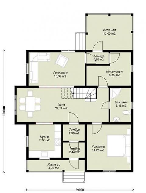 Дома из бруса серии ПДС 3-59